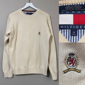 Tommy Hilfiger Men's Ivory Heavy Knit Sweater